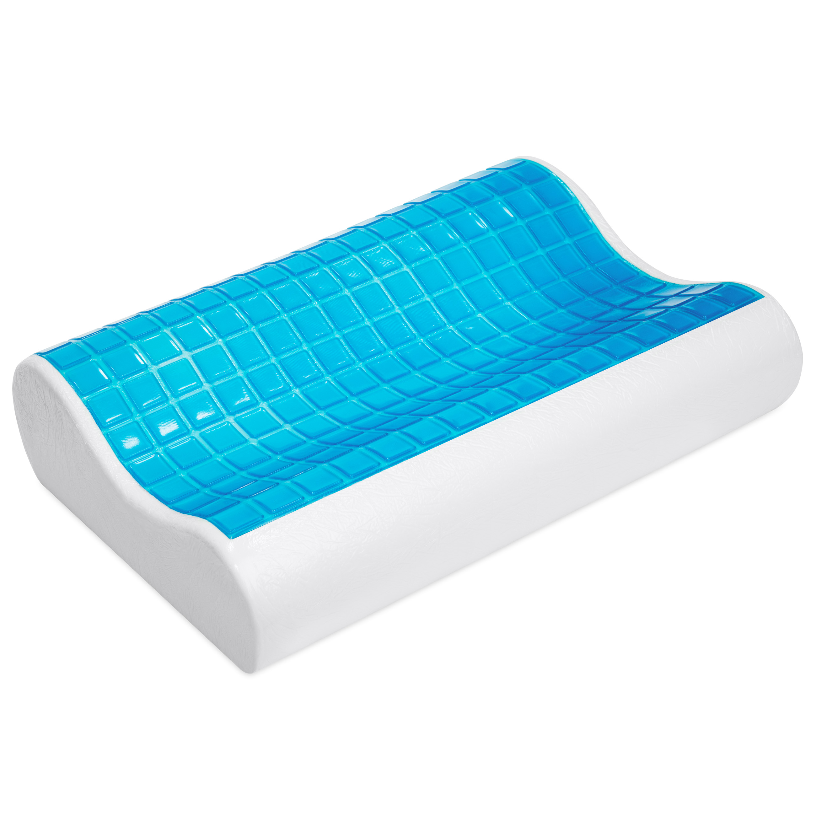 Best Choice Products Orthopedic Contour Cooling Gel Memory Foam Pillow w/ Removable Hypoallergenic Case - White/Blue