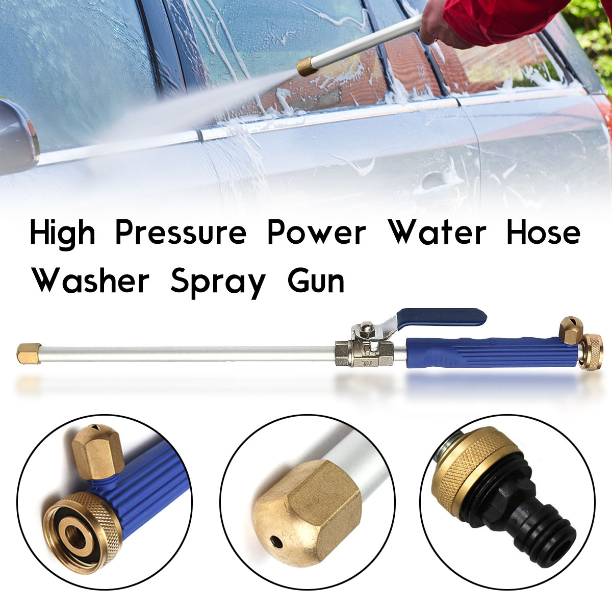 "18"" Aluminum High Pressure Power Washer Spray Nozzle Water Hose Wand Attachment Cleaning Tool Garden Car Washing"