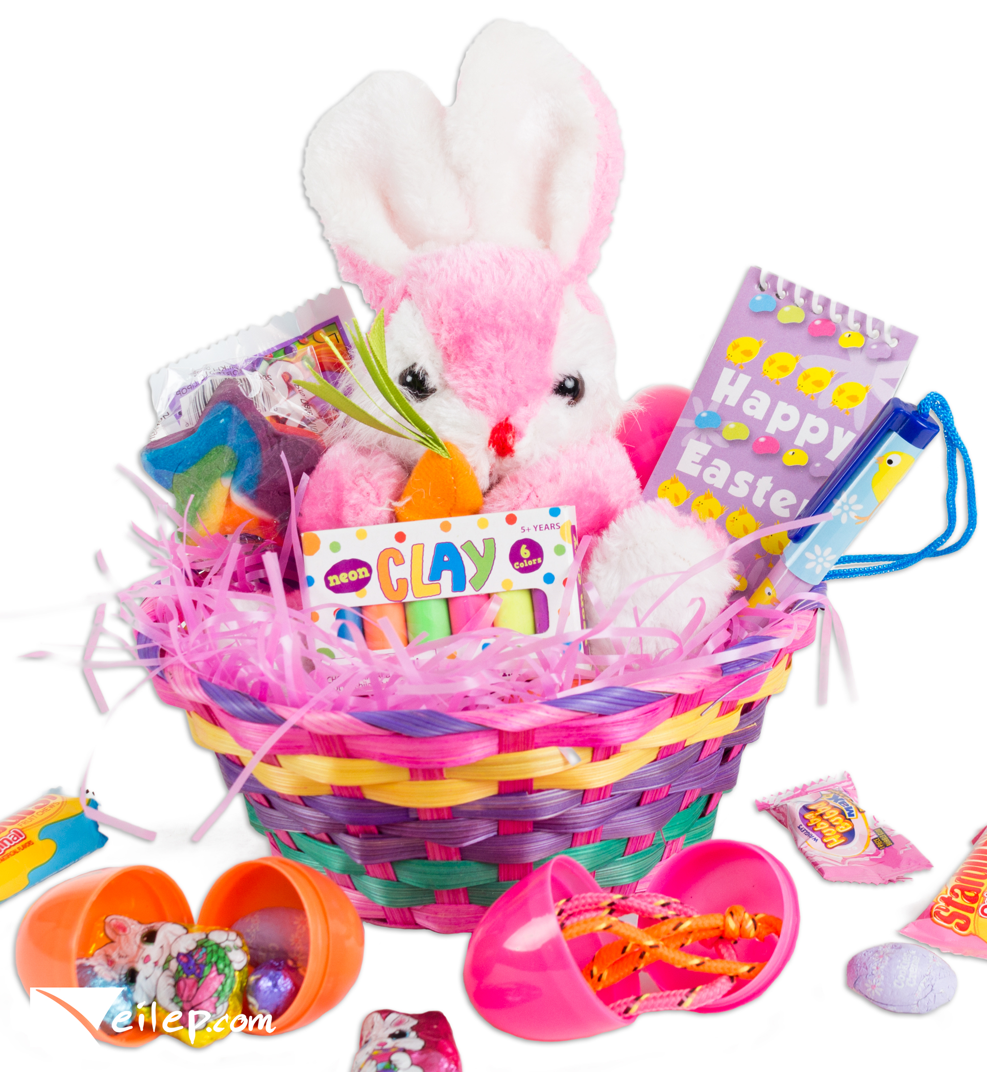 Carrot Easter Bunny Plush Toy 14pc Gift Basket Kit, Treats Fill & More, 3 Colors