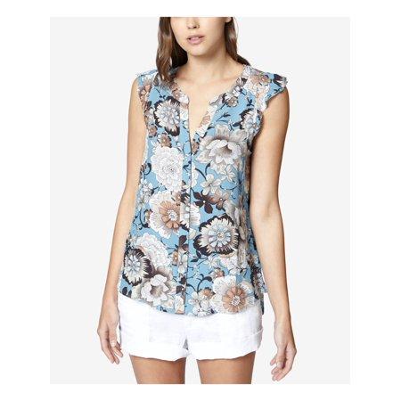 SANCTUARY Womens Blue Printed Ruffled Shell Sleeveless V Neck Top  Size: XS Ruffle Printed Shell