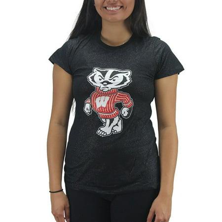 - Creative Apparel Women' s Wisconsin Badgers Black Glitter T-Shirt