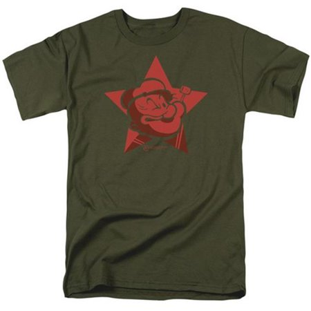 Popeye-Red Star Short Sleeve Adult 18-1 Tee, Military Green - 3X - image 1 de 1