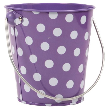 JAM Paper® Metal Pail Bucket - Mini - 3 1/8 x 4 1/4 x 4 1/4 - Purple with White Dots - Sold Individually