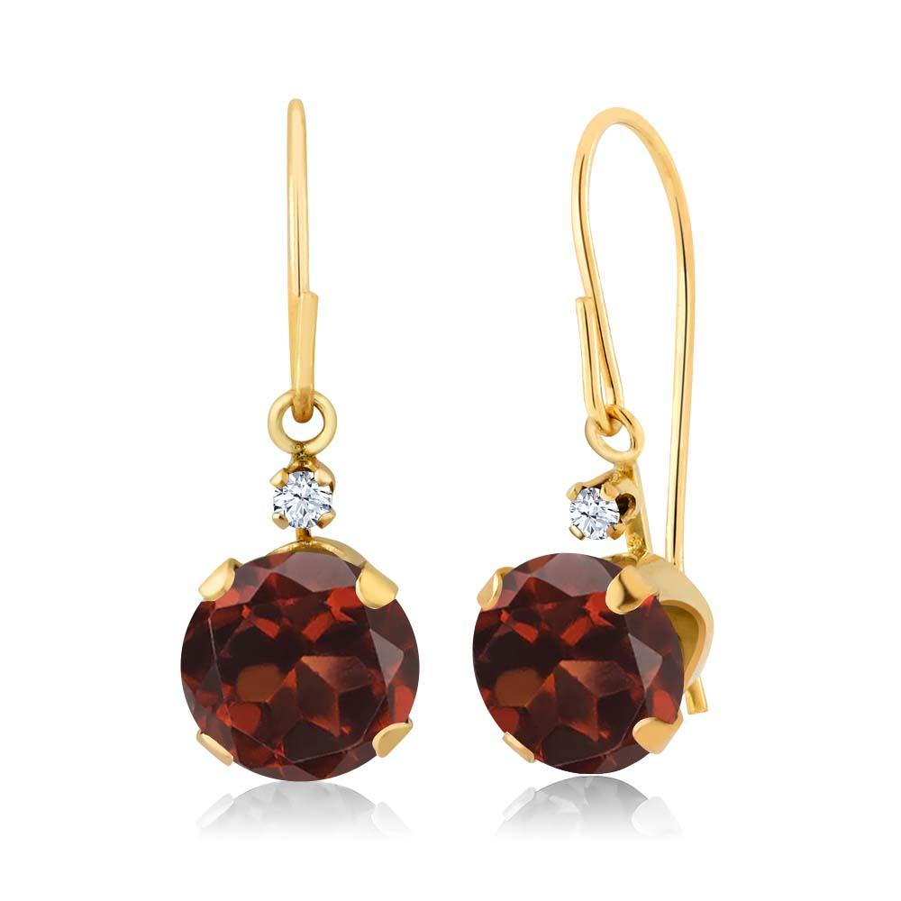 2.03 Ct Round Red Garnet 14K Yellow Gold Earrings