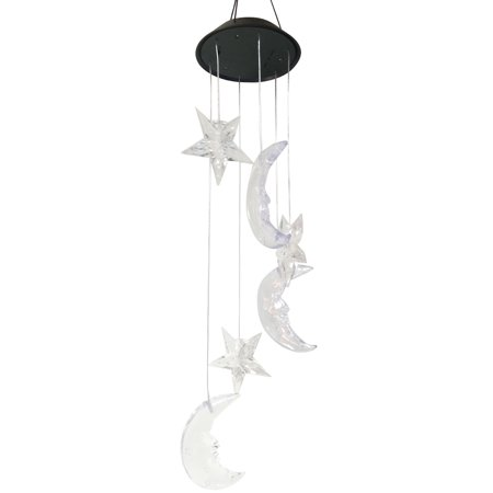 Moon Star Wind Chimes LED Solar Mobile Wind Chime Color Changing Automatic Light Sensor Wind Spinner Lamp for Home Party Balcony Porch Patio Garden (Moon Chime)