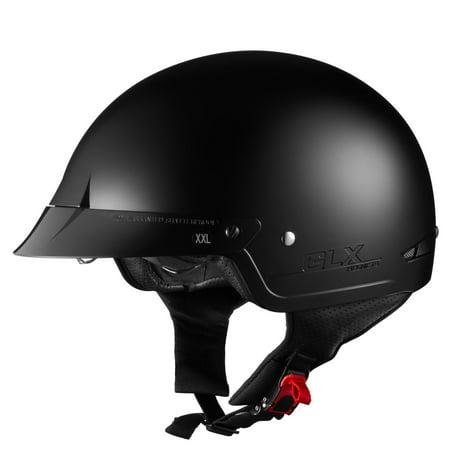 GLX Helmets M14 Half Motorcycle Helmet (Matte Black, Large)