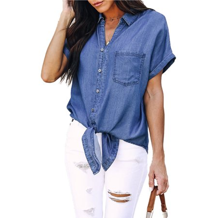 - Casual Womens Short Sleeve Casual Denim Shirt Blouse Summer Loose Button Down Jeans Tops