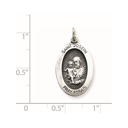 925 Sterling Silver Antiqued Saint Joseph Medal - image 2 of 2