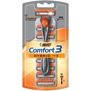 BIC Comfort 3 Hybrid Men's Disposable Razor, 1 Handle 6 Cartridges