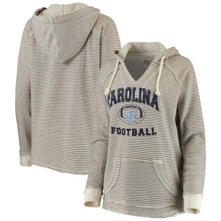 North Carolina Tar Heels Blue 84 Women's Striped Football V-Neck Raglan Pullover Hoodie - Cream