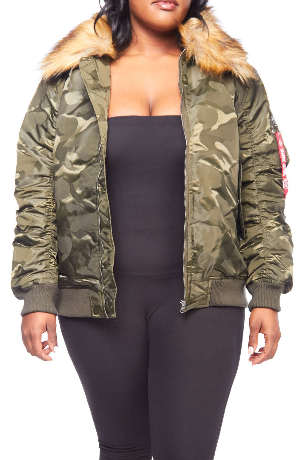 Womens Plus Size Winter Faux Fur Puffer Bomber Parka Jacket RJK-728P-XL-Olive Camo Taupe by Genx