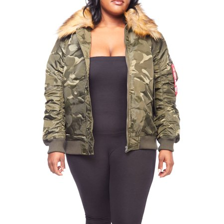- Womens Plus Size Winter Faux Fur Puffer Bomber Parka Jacket RJK-728P-XL-Olive Camo/Taupe