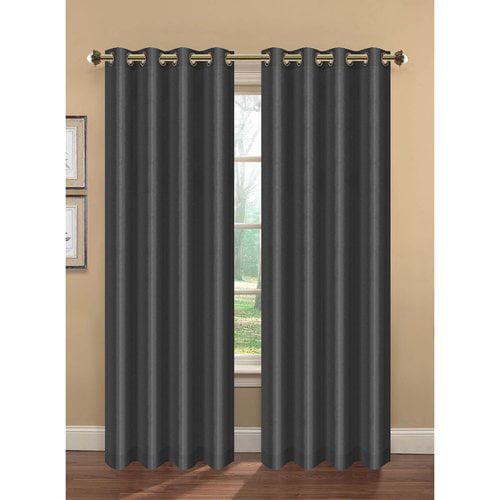 Camilla Faux Silk Room Darkening Grommet Curtain Panel Pairs