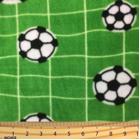 SHASON TEXTILE (2 Yards cut) POLAR FLEECE FABRIC 100% POLYESTER ANTI-PILL, New Soccer Ball in The Net, Available in Multiple Colors](Soccer Ball Fabric)