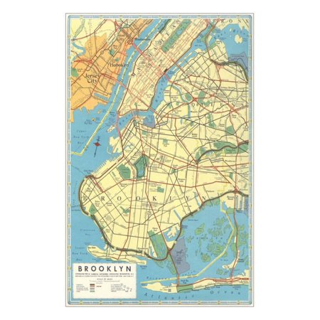 Map of Brooklyn, New York Print Wall Art (Map Of Brooklyn New York Zip Codes)