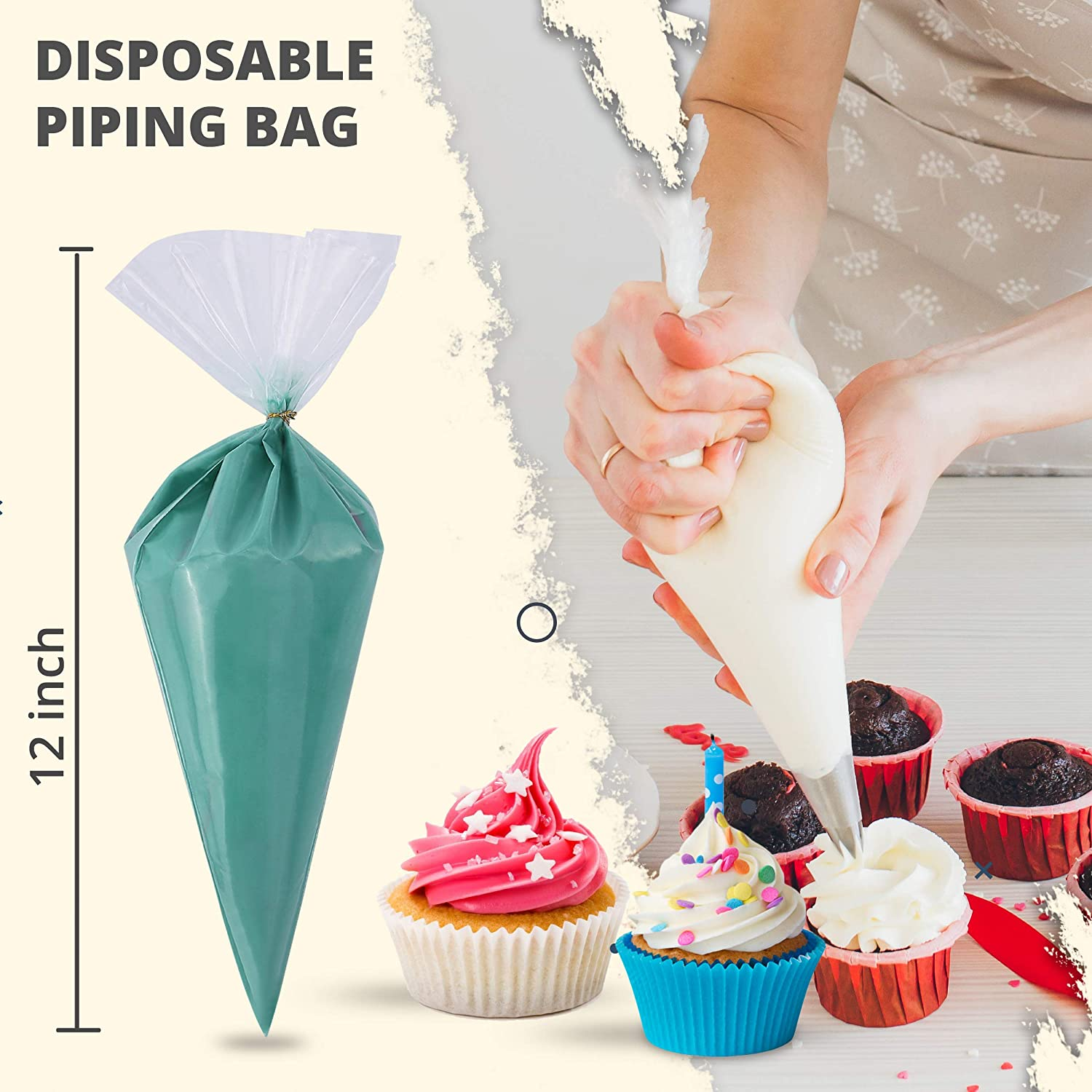 Cookie Cake Decorating Supplies Thickened 100 Pcs 14 Inch Heavy Duty Anti Burst Pastry Bags Piping Bags Disposable for Cream Icing Frosting