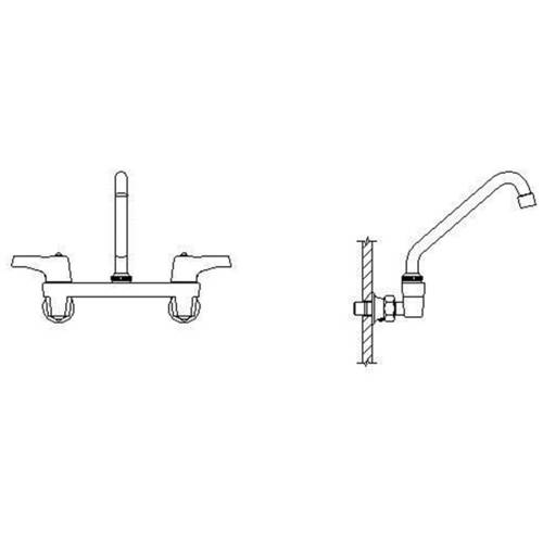 Delta 28C4243 Commercial Ceramic Disc Wallmount Kitchen Faucet with Tubular  Swing Spout and Vandal Resistant Lever Blade Handles, Chrome - Walmart.com