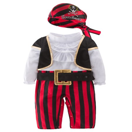 StylesILove Infant Baby Boy Cap'N Stinker Pirate Halloween Costume 4 pcs Set (80/12-18 Months) (Baby Boy 3-6 Months Halloween Costumes)