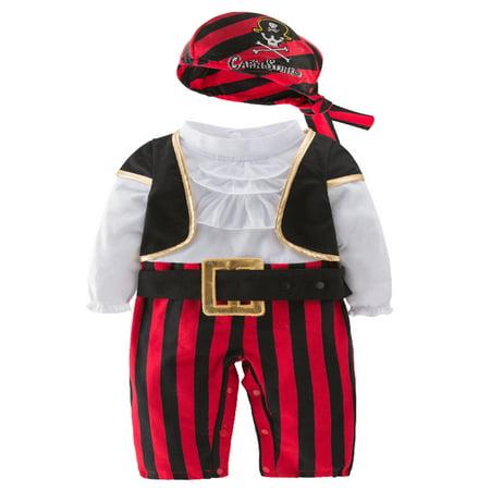 StylesILove Infant Baby Boy Cap'N Stinker Pirate Halloween Costume 4 pcs Set (80/12-18 Months)
