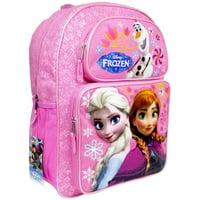 "Licensed Disney Frozen Anna & Elsa Girls 16"" Canvas Pink School Backpack"
