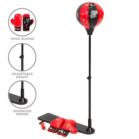 Best Choice Products Kids Adjustable Standing Boxing Punching Ball Set w/ Advanced Spring, Metal Stand, Gloves - Red - Punching Balls
