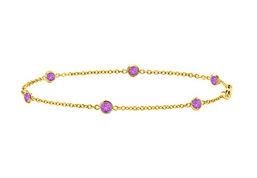 Station Bracelet Amethyst in 14K Yellow Gold 7 Inch Long with 0.60 Carat Total Weigh by Love Bright
