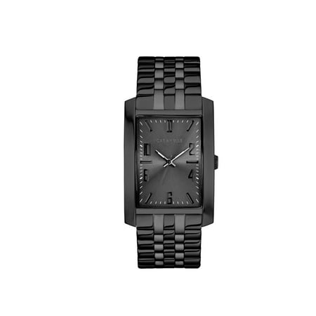 Caravelle Black Dial - Caravelle Men's Rectangular Black-Tone Stainless Steel Bracelet Dress Watch