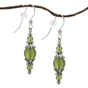 Jewelry by Dawn Handmade  Round Olive Green Glass With Pewter Accents Dangle Earrings (USA)