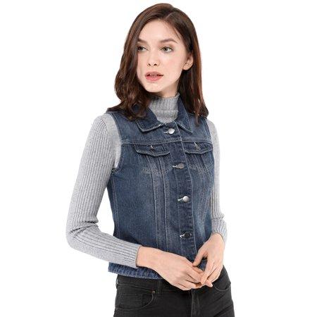 Women's Buttoned Washed Denim Vest Jacket w Chest Flap Pockets Blue S (US 6) - image 6 de 6