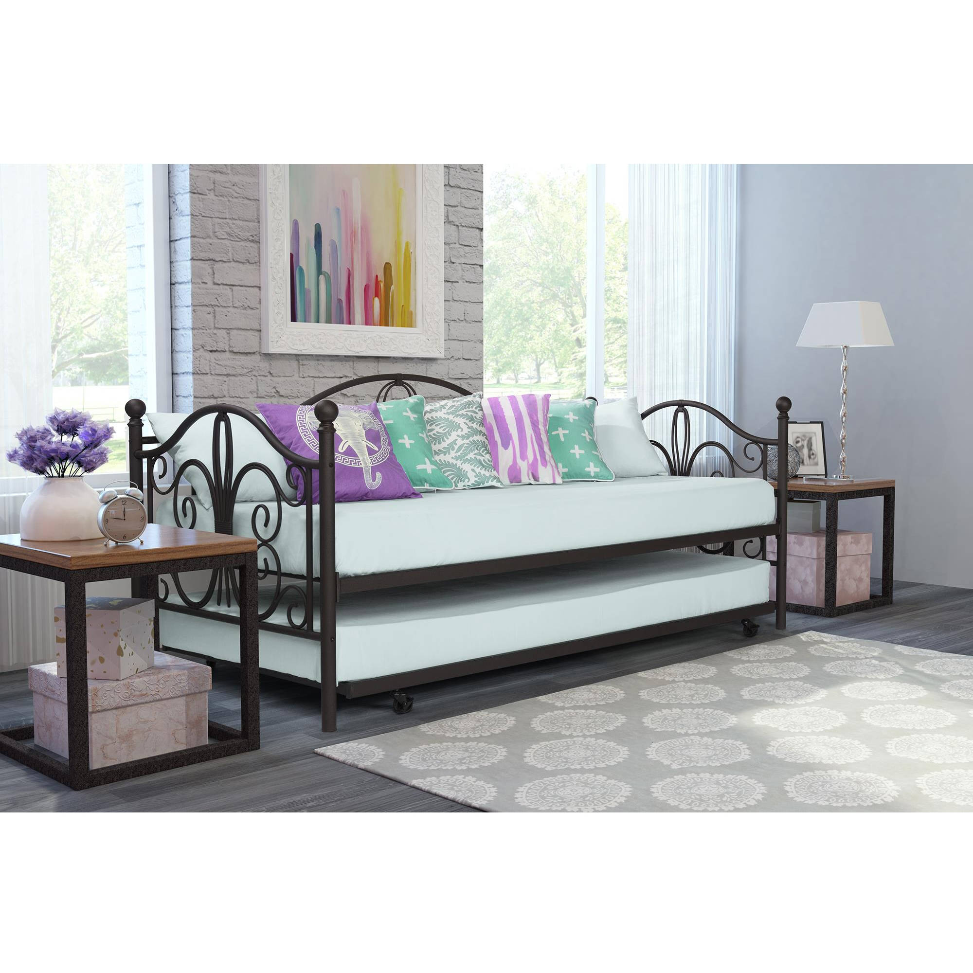 Dorel Home Bombay Metal Day Bed and Trundle, Bronze by