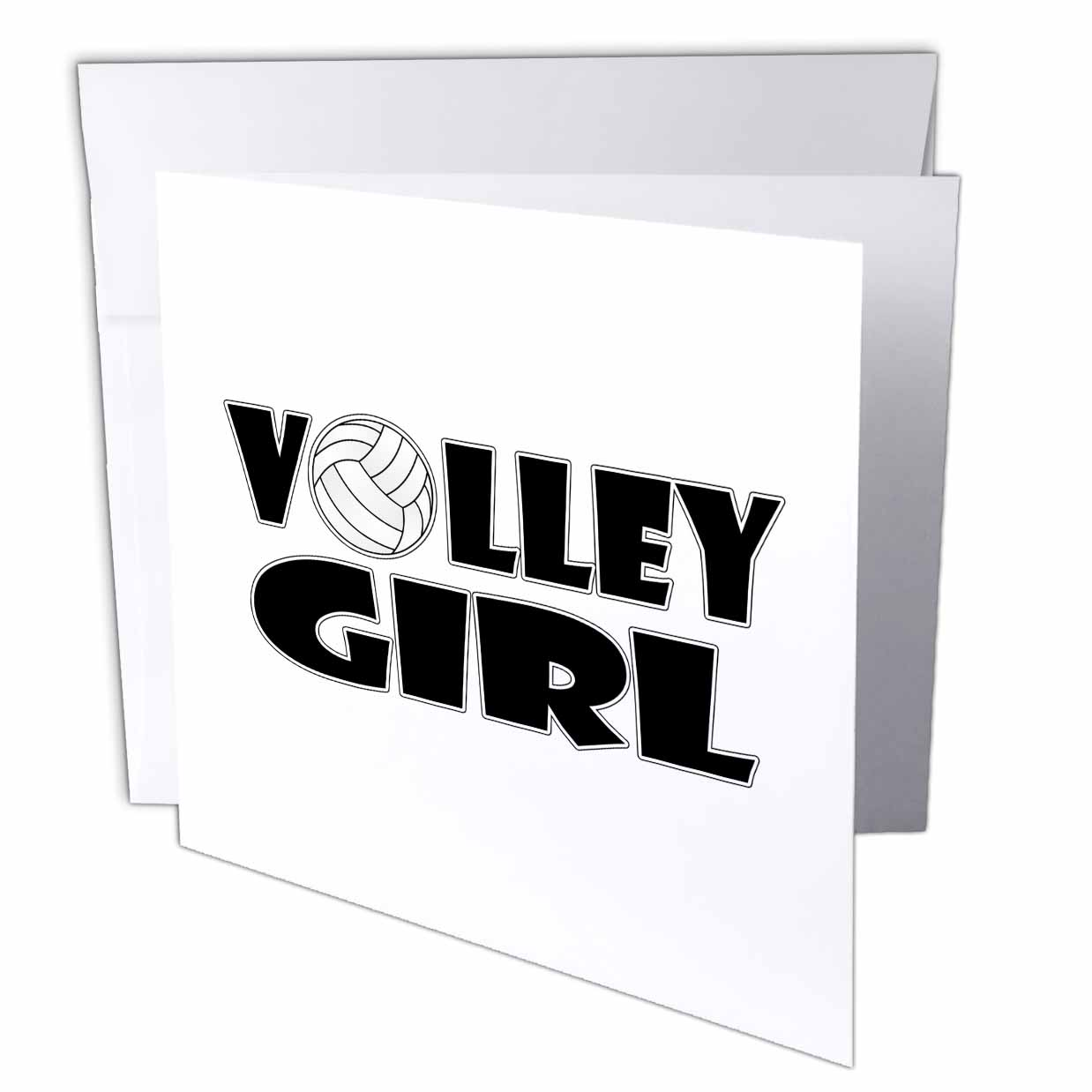 3dRose Volley Girl - Volleyball, Greeting Cards, 6 x 6 inches, set of 6