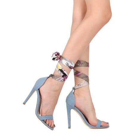 New Women Cape Robbin Suzzy-52 Denim Open Toe Ankle Scarf Stiletto Sandal Denim Open Toe Sandals