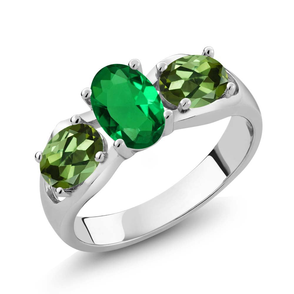 1.60 Ct Oval Green Simulated Emerald Green Tourmaline 18K White Gold Ring by