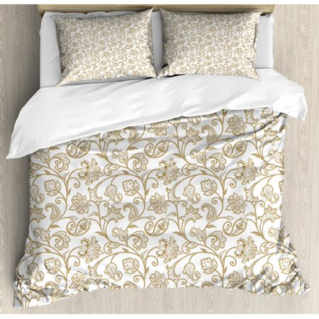 Floral King Size Duvet Cover (Ethnic King Size Duvet Cover Set, Arabic Pattern of Floral Paisley Style Wild Herbs and Oriental Ornaments, Decorative 3 Piece Bedding Set with 2 Pillow Shams, Dust Camel and White, by Ambesonne )