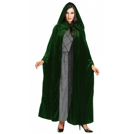 Panne Velvet Hooded Cloak Adult Costume Accessory Evergreen - One Size