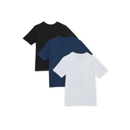 Wonder Nation Boys Solid Crewneck Short Sleeve T-Shirt 3 Pack Sizes 4-18 & Husky