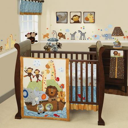 Lambs & Ivy S.S. Noah 9-Piece Nursery to Go Crib Bedding Set - Blue,