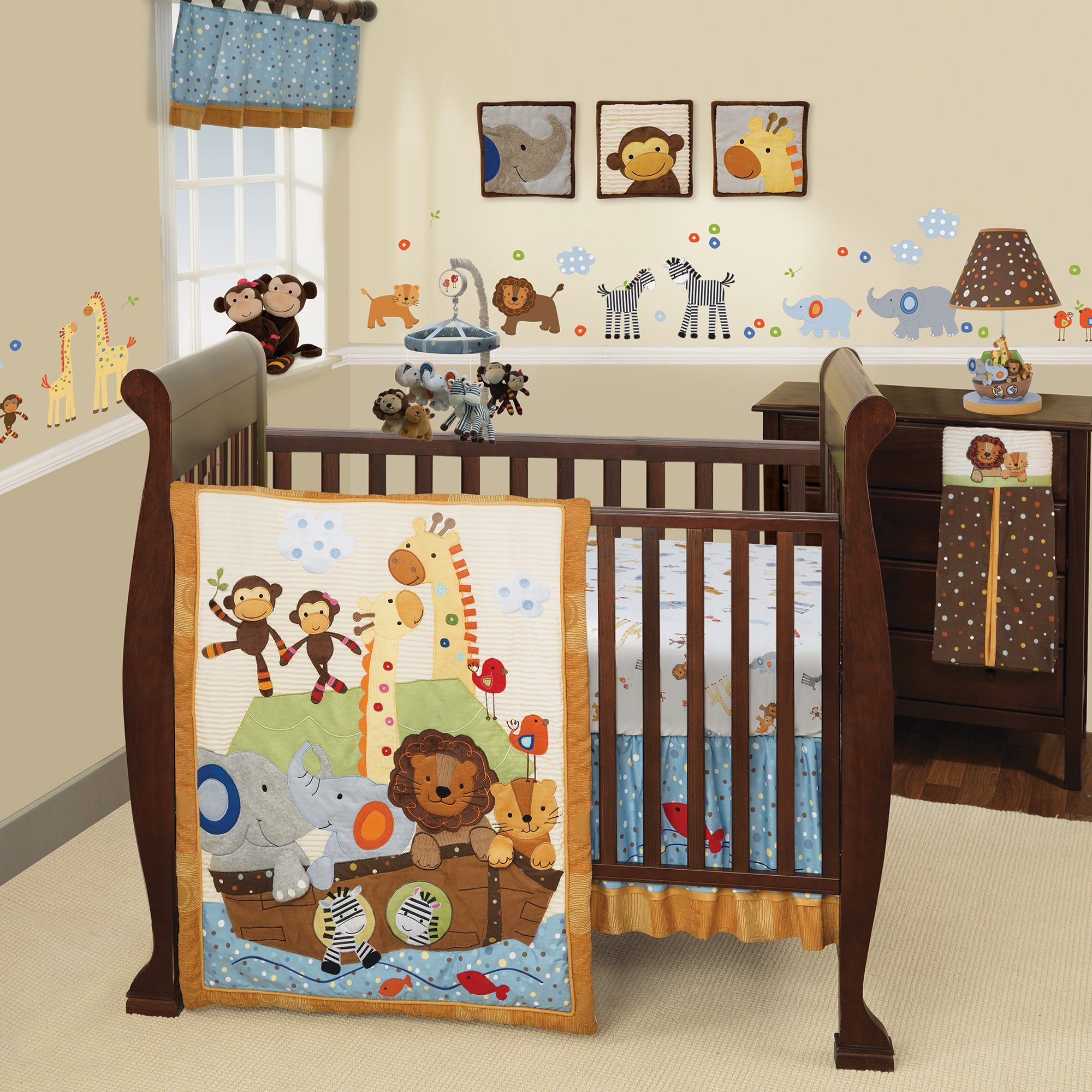 Lambs & Ivy S.S. Noah 9-Piece Nursery to Go Crib Bedding Set - Blue, Brown
