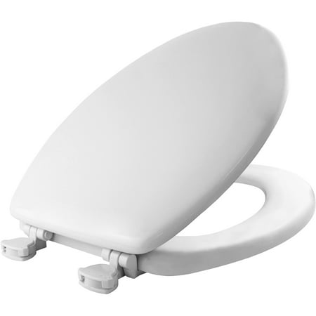 - MAYFAIR Elongated Enameled Wood Toilet Seat in White with Easy•Clean & Change® Hinge