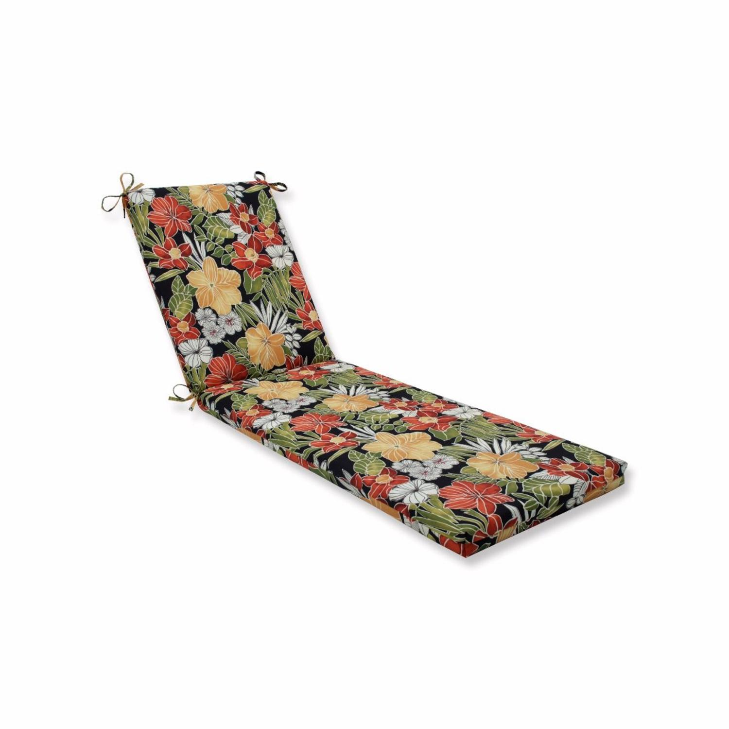 """80"""" Green Floral UV/Fade Resistant Outdoor Patio Lounge Cushion with Ties"""