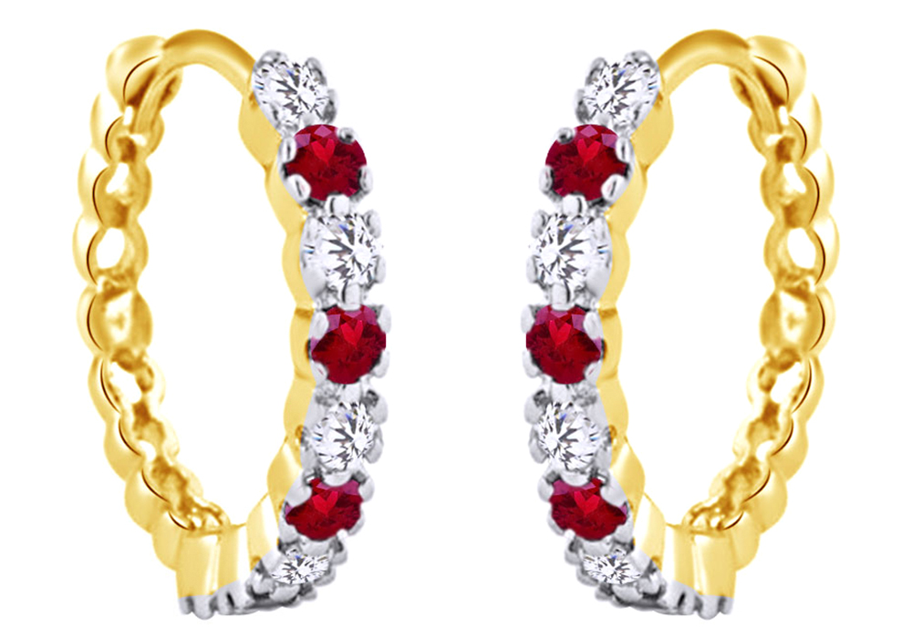 Round Cut Simulated Pink Ruby With White Sapphire Hoop Earrings In 14K White Gold Over Sterling Silver by Jewel Zone US
