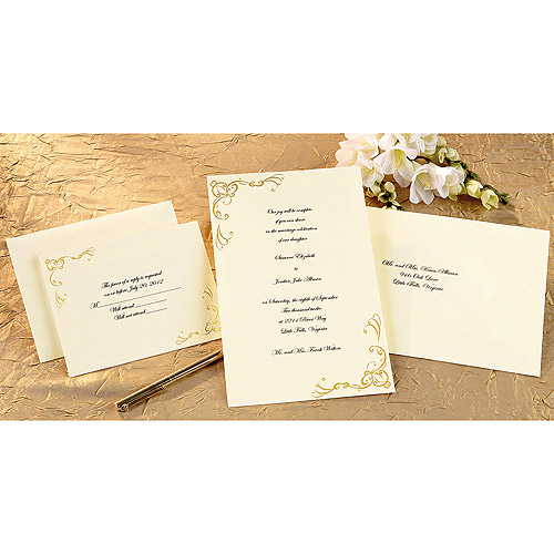 Wilton Print Your Own Invitations Kit Scrollwork Gold 50 Ct 1008