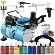 Master 3 Airbrush Dual Fan Air Compressor Pro Cake Decorating Kit, 12 Color Chefmaster Food Coloring Set, Gravity Siphon