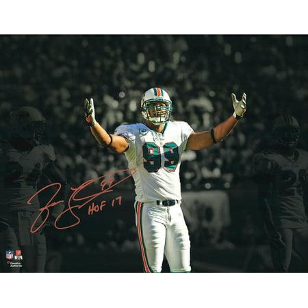 "Jason Taylor Miami Dolphins Autographed 11"" x 14"" Spotlight Photograph with ""HOF 17"" Inscription - Fanatics Authentic Certified"