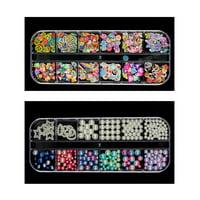 LYUMO 12 Grids Transparent Nail Art Box Rhinestones Beads Empty Storage Box Container ABS Nail Decoration Box