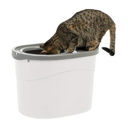 IRIS Top Entry Cat Litter Box, White/Gray
