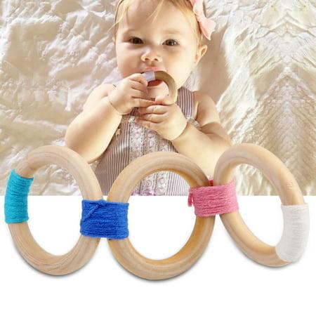 Miyim Organic Teether - Wooden Wool Teether, Baby Toy Natural Wooden Wool Crochet Baby DIY Crochet Wooden Rings(#1)