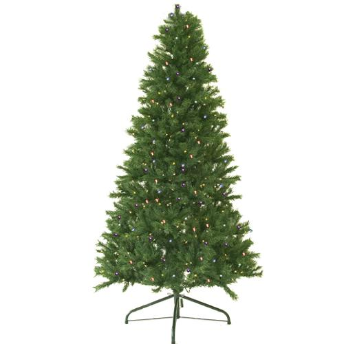 7' Pre-Lit Canadian Pine Artificial Christmas Tree - Multi LED Lights