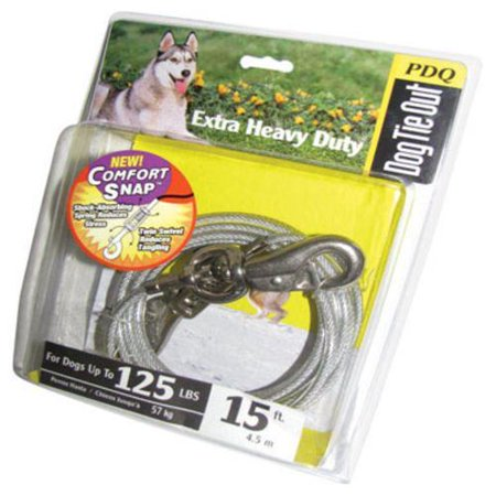 Boss Pet Q5715 SPG 99 15' Extra Large Dog PDQ Tie-Out with Spring (Clear Vinyl Tie Out)