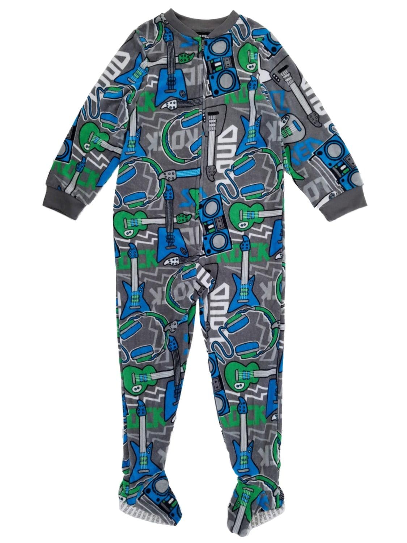 Boys Gray Microfleece Electric Guitar Footed Pajama Blanket Sleeper